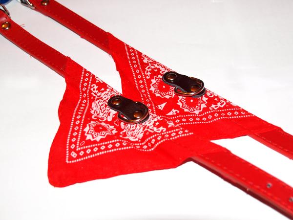 Mintás kutya kendő nyakörvvel - piros