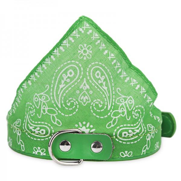 Mintás kutya kendő nyakörvvel - zöld