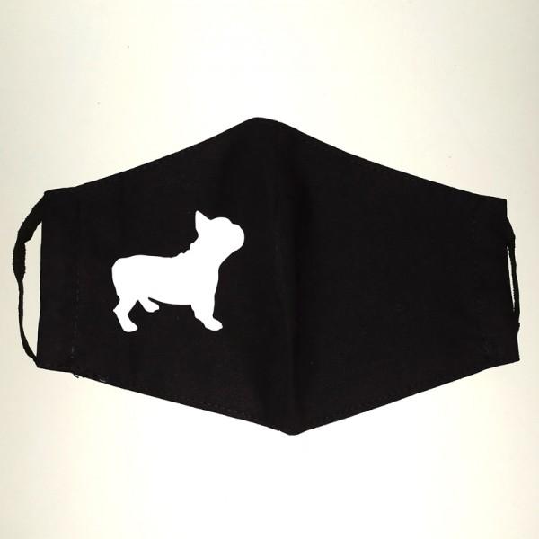 Francia bulldog mintás fekete varott maszk