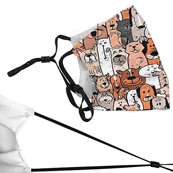Kutya-cica grafikás szájmaszk szűrőtartóval