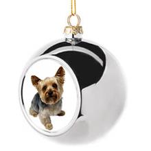 Karácsonyi egyedi fényképes ezüst gömb