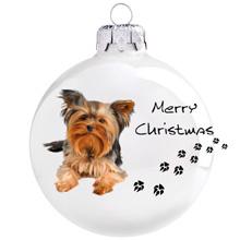 Yorkshire terrier mintás karácsonyi gömb szett