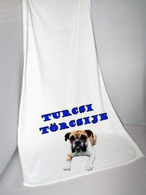 Törölköző egyedi fényképpel, felirattal kutyusodnak