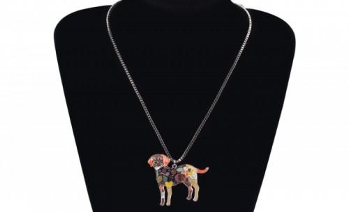 Labrador tűzzománc nyaklánc
