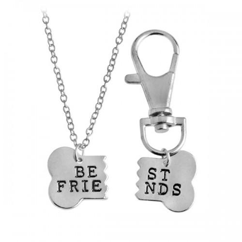 Csont alakú 'Best Friend' feliratú nyaklánc és kutyaékszer