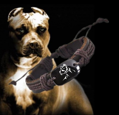Pitbull bőr karkötő