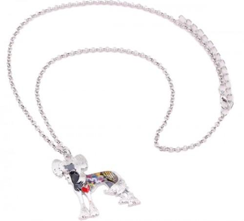 Kínai meztelen kutyás tűzzománc nyaklánc