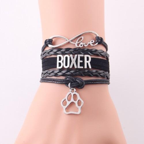 Boxer kutya feliratos bőr karkötő