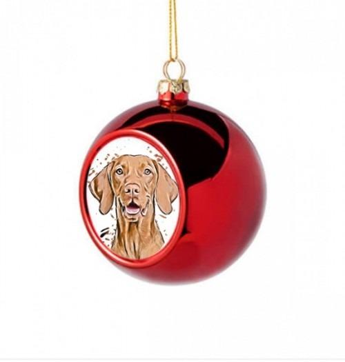 Karácsonyi egyedi fényképes piros gömb