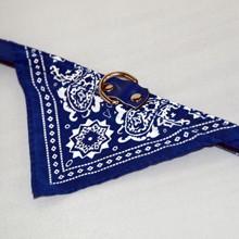 Mintás kutya kendő nyakörvvel - kék