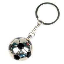 Focilabda alakú fényképes fém kulcstartó