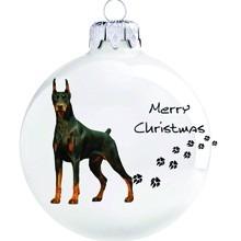Doberman mintás karácsonyi gömb szett