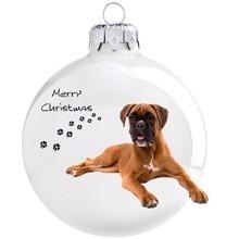 Boxer kutya mintás karácsonyi gömb szett