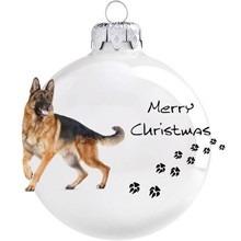 Németjuhász mintás karácsonyi gömb szett
