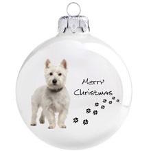 Westie kutya mintás karácsonyi gömb szett