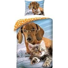 Tacskó és cica mintás ágyneműhuzat