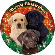Labrador kutya mintás világító karácsonyi ablakdísz