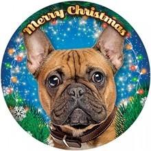 Francia bulldog mintás világító karácsonyi ablakdísz