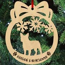 Francia bulldogos fa karácsonyfa dísz