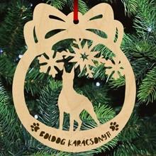 Dobermann kutyás fa karácsonyfa dísz