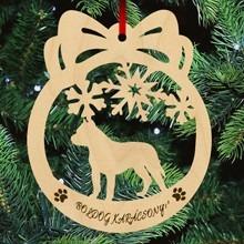 Pitbull kutyás fa karácsonyfa dísz